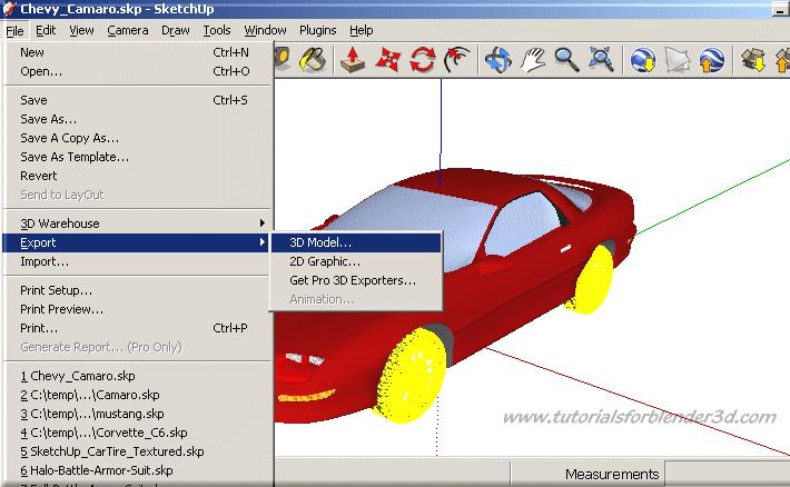 export blender files to sketchup